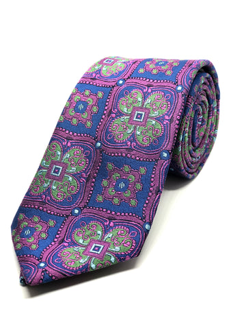 Floral Purple Green Tie