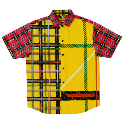 High impact yellow & red jungle plaid button up
