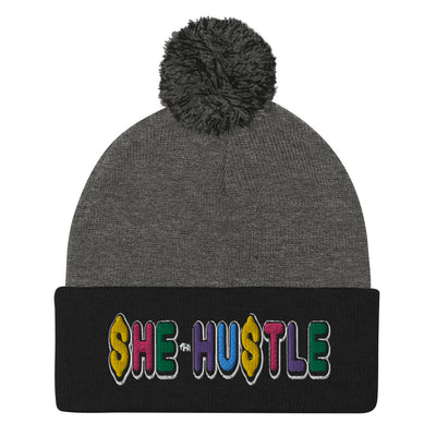 She Hustle rainbow Pom-Pom Beanie