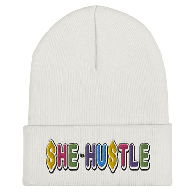 White SHE HUSTLE Cuffed Beanie
