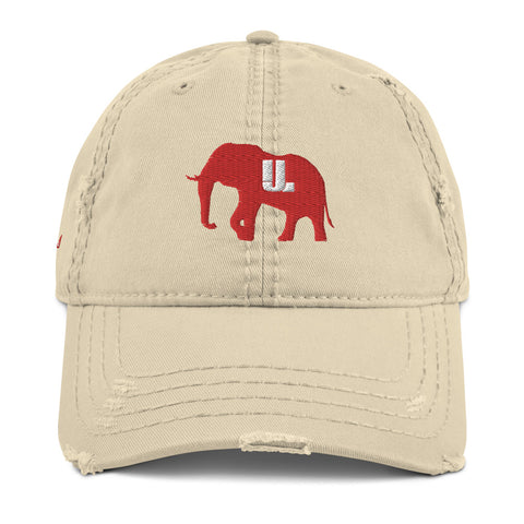 Classic Red logo Distressed Dad Hat