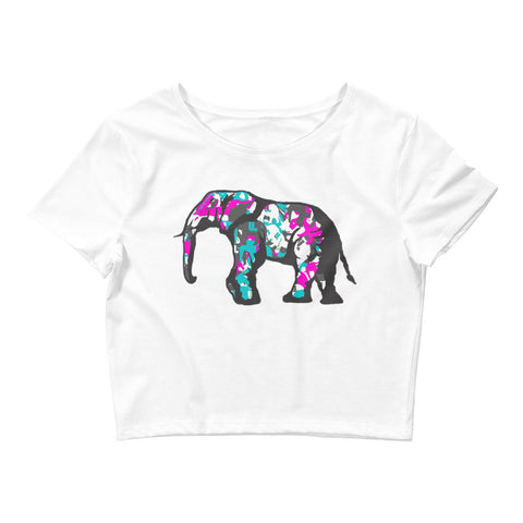 Women's teal elephatigue Crop Tee