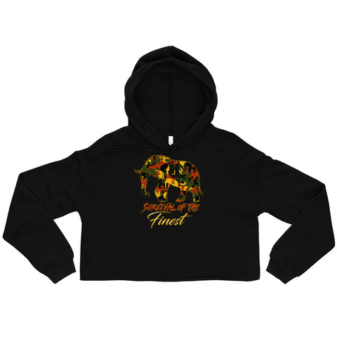 Survival of the FINEST elephatigue Crop Hoodie