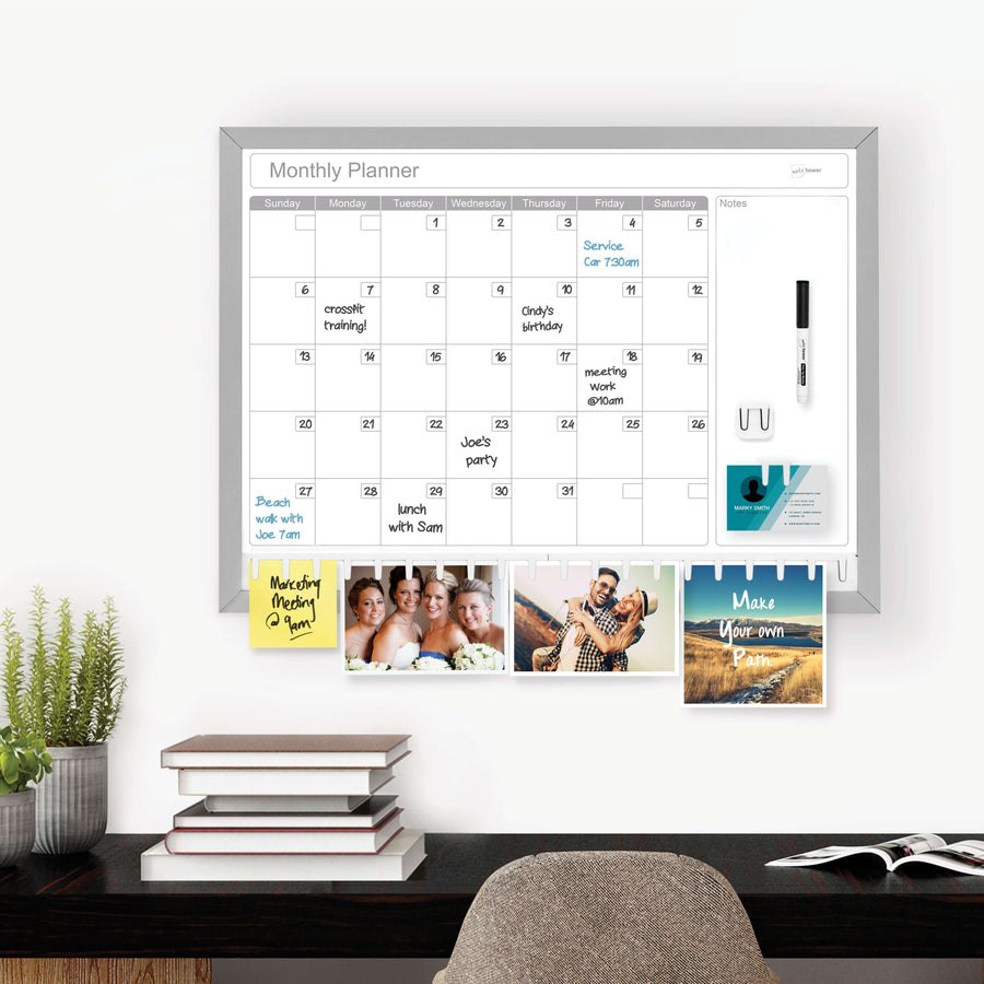 "NoteTower 17"" x 23""  Aluminum Frame Dry Erase Combination Calendar Board"