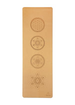 Load image into Gallery viewer, Natural Cork Yoga Mat - Sacred Geometry Mandala