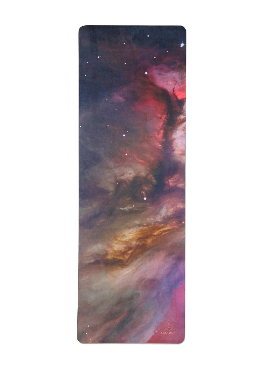 Luxe Vegan Suede Microfiber/ Recycled Rubber Printed Yoga Mat - SPACE GALAXY