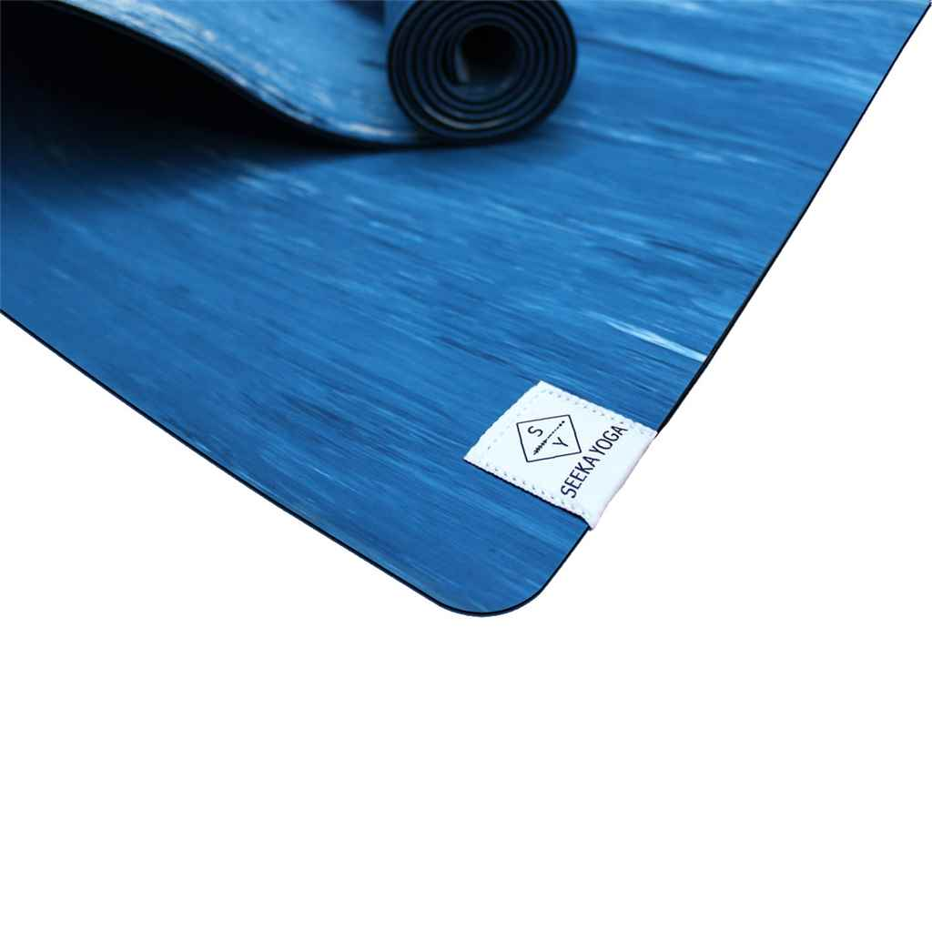 Natural Rubber Yoga Mat - BLUE MARBLE