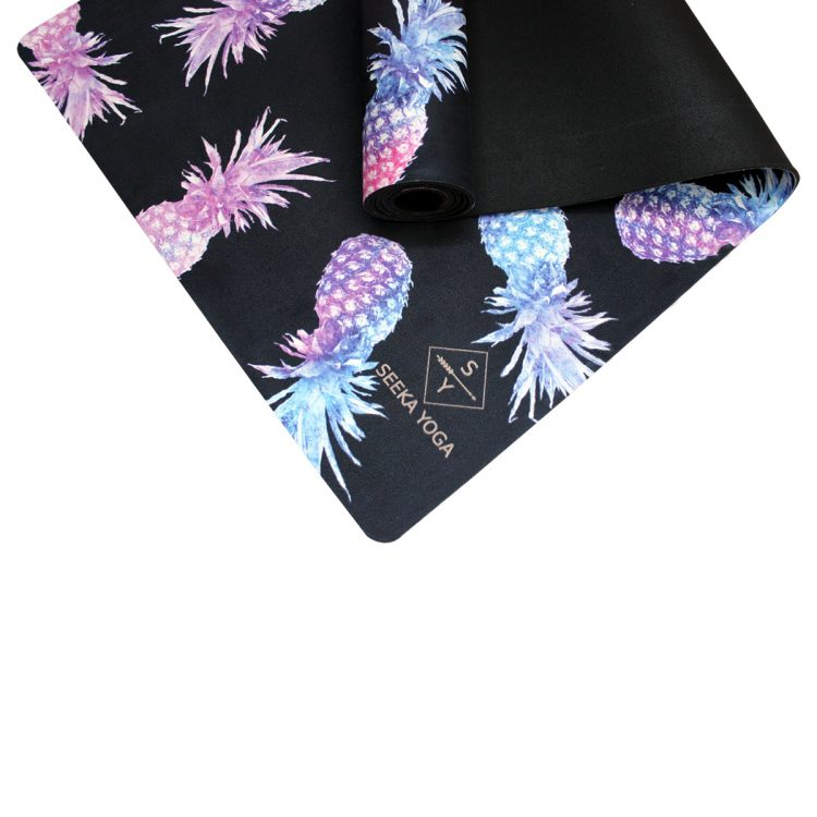 Luxe Vegan Suede Microfiber Natural Rubber Printed Yoga Mat - PINEAPPLE TRAVEL MAT