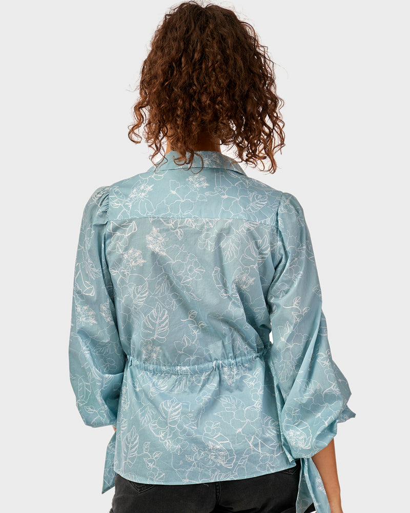 Clementine Blouse - Blue Sketch Floral