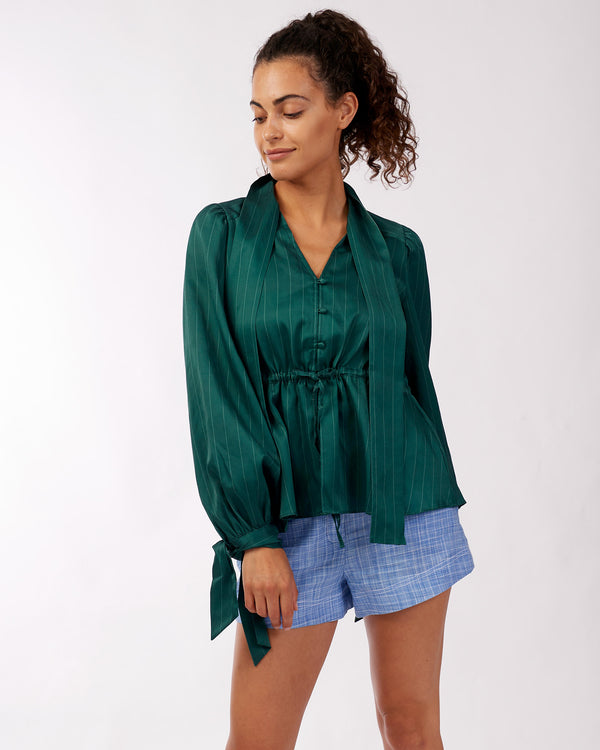 Diana Silk Blouse - Teal Pinstripe - Size 6, 8, 10, 12
