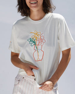 Hibiscus Embroidered Organic Cotton T-shirt