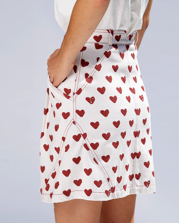 Maia Mini Skirt - Hearts - Size 6