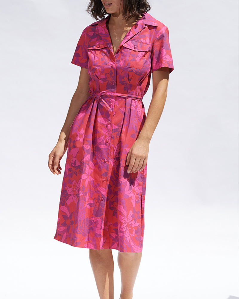 Valeria Cotton Shirt Dress - Fuchsia Floral