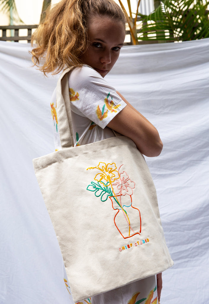 Hibiscus Embroidered Organic Cotton Tote Bag