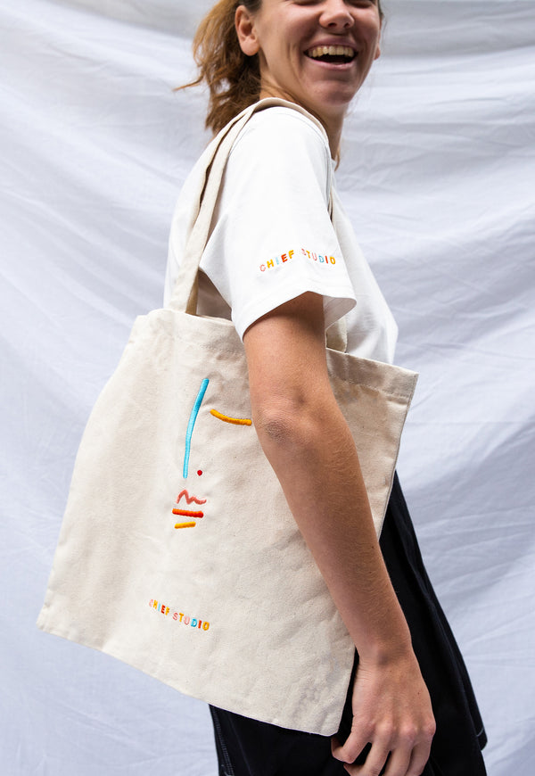 Signature Organic Cotton Embroidered Tote Bag
