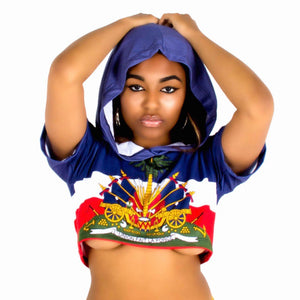 HAITIAN FLAG CROP TOP HOODIE SET