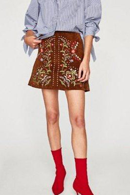 Embroidered Suede Skirt - VESTITI LB