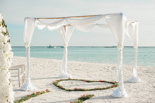 Charger l'image dans la galerie, White fabric canopy with green heart floor decor at beach - W-Photographie