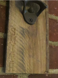 Personalized Wall Mount Bottle Opener by Oak Neck Design