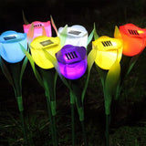 Outdoor Garden Solar LED  Powered Tulip Night Flower Lamp