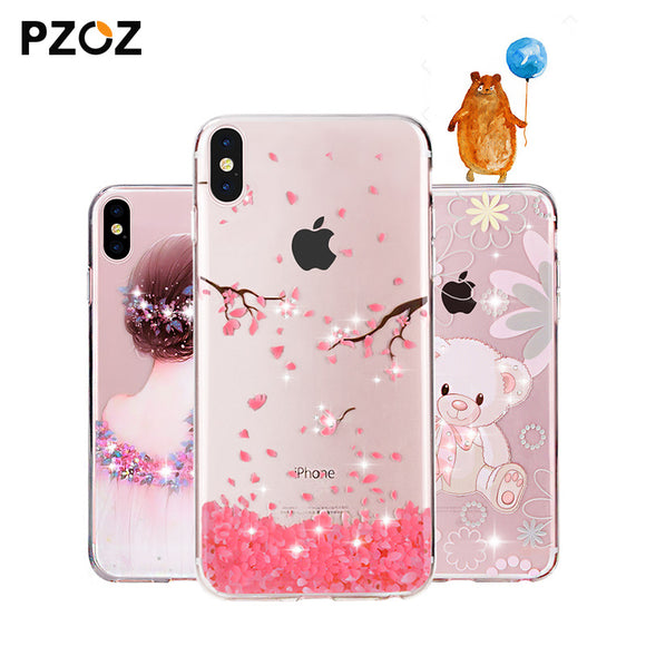 PZOZ For apple iphone x 10 Case Rhinestone Glitter Silicone Cover Original coque Luxury Crystal Diamond Soft Shell ultra thin