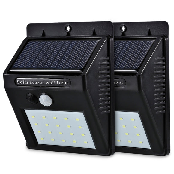 LED Solar Power PIR Motion Sensor Wall Light 20 LED Outdoor Waterproof