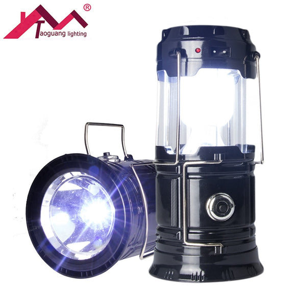 Lantern Portable LED Solar Flashlights Powered Collapsible USB Rechargeable