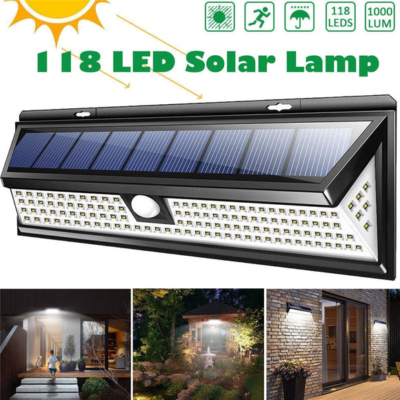 118 LED Waterproof Solar PIR Motion Sensor Outdoor Garden Lamp