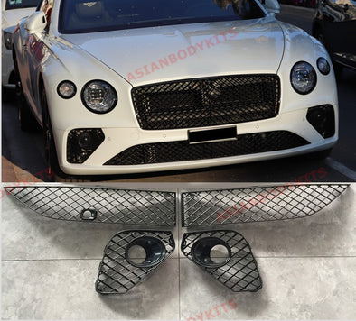 BLACK FRONT BUMPER LOWER MESH GRILLE for BENTLEY CONTINENTAL GT V8 W12 2018+
