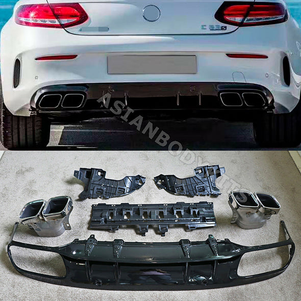 Benz C class C205 Coupe C63 REAR DIFFUSER with silver exhaust tips