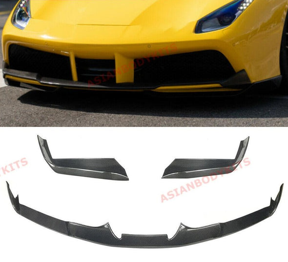 DRY CARBON FIBER FRONT LIP SPLITTERS for FERRARI 488 GTB Spyder