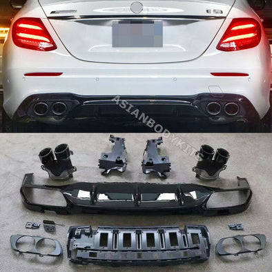 for Mercedes Benz E class W213 E53 REAR DIFFUSER with black exhaust tips (2017+)