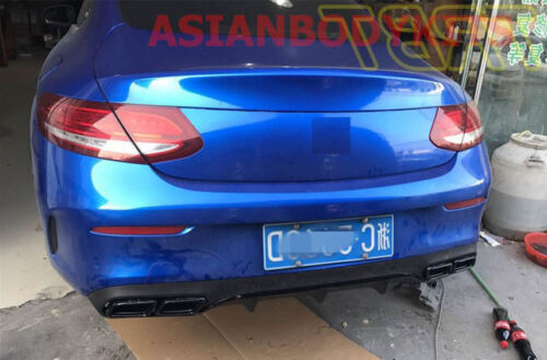 for Mercedes-Benz C-class COUPE C205 AMG C63 REAR DIFFUSER exhaust tips (BLACK)