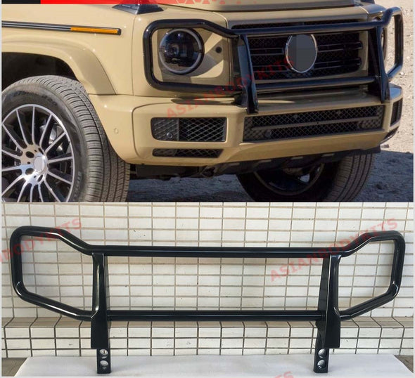 Front BLACK-PAINTED grille guard brush / BULL BAR assembly for Mercedes-Benz W463A G550 G350 (W464) (Latest G-class generation only)  Best quality on the market Material: Stainless steel  FINISH: GLOSS BLACK PAINTED