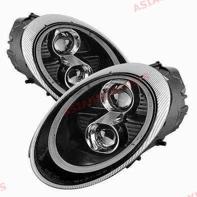 "HEADLIGHTS with LED DRL for Porsche 911 997 (""991 Turbo Style"") Black"