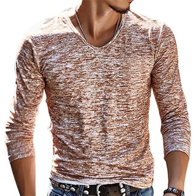 75f826d6300 2018 NEW Trendy Men T Shirt Casual Long Sleeve Slim Men s Basic Tops Tees  Summer Stretch