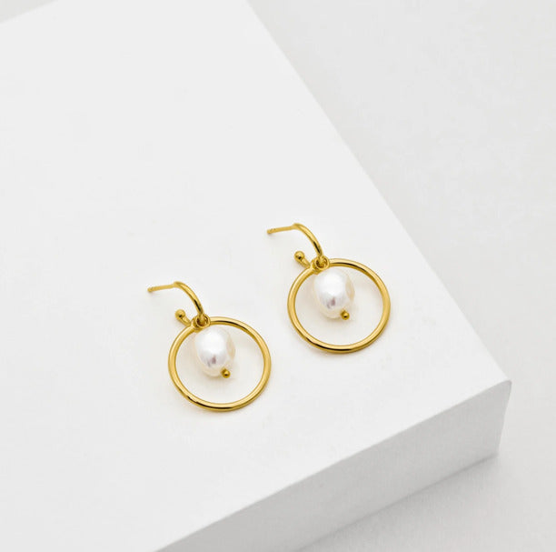 convertible pearl earrings gold