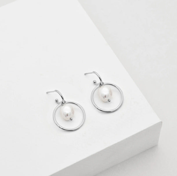 convertible pearl earrings silver
