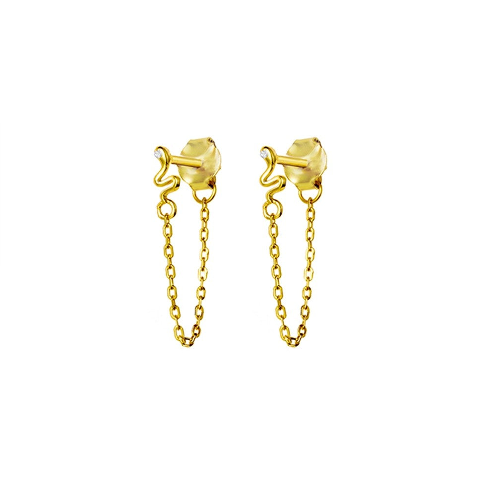 chained snake studs