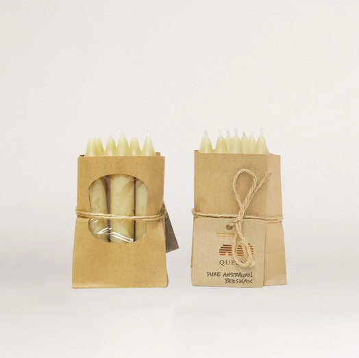 short beeswax tapers