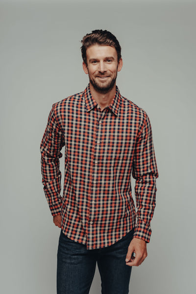 Nikko Button Down - Orange Plaid