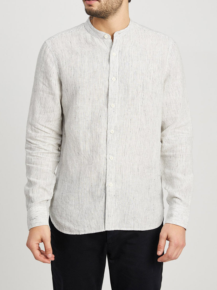 Aleks Band Collar Linen Shirt - White Stripe