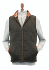 Irish Tweed Gilet w/ Leather Trim - Brown