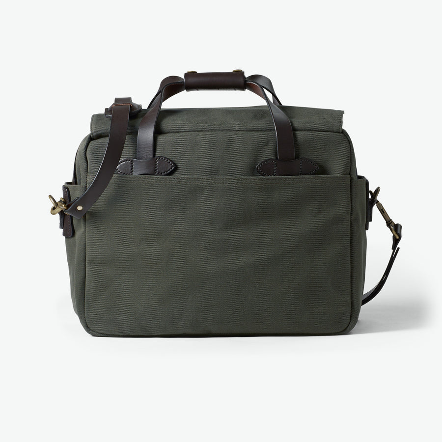 Padded Computer Bag in Rugged Twill - Otter Green