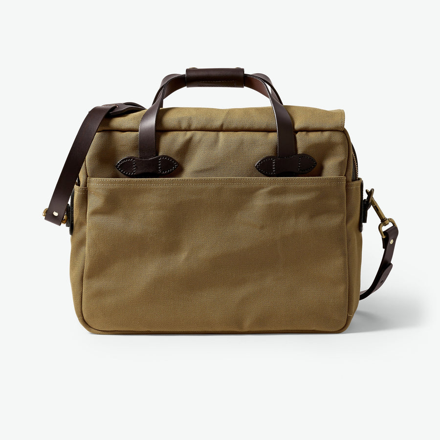 Padded Computer Bag in Rugged Twill - Tan