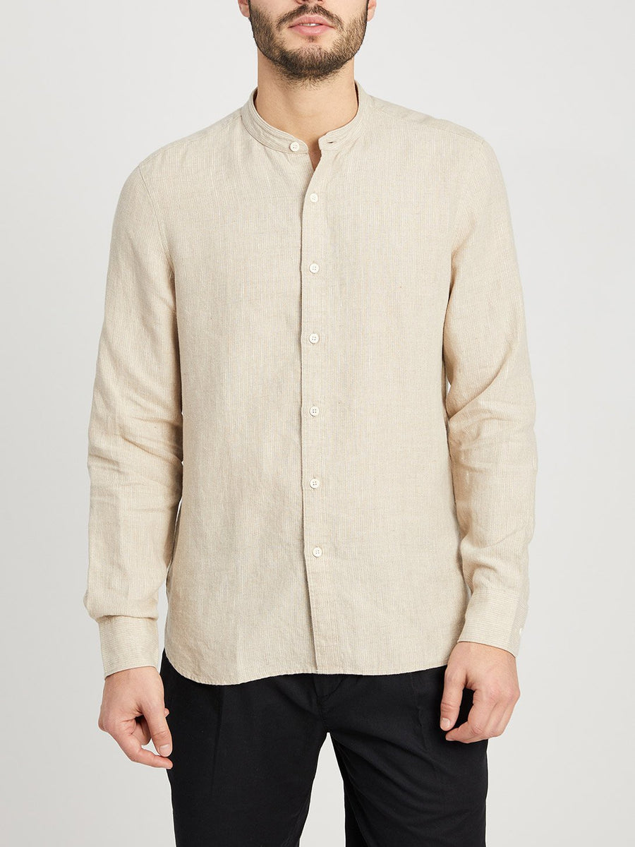 Aleks Band Collar Linen Shirt - Beige Stripe