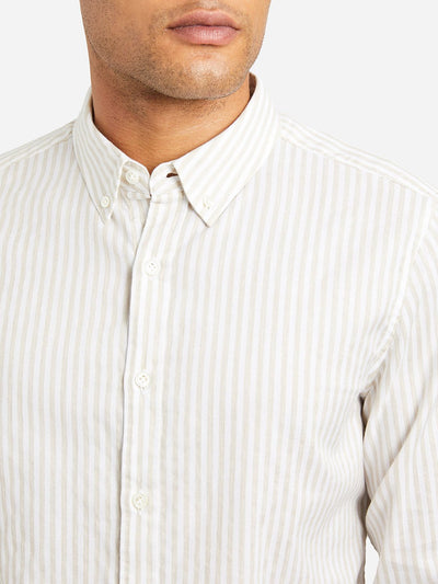 Adrian Striped Oxford Shirt - Beige Stripe