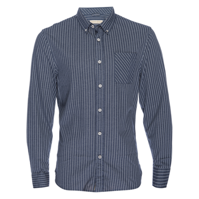 Truman Button Collar Banker Stripe  - Indigo