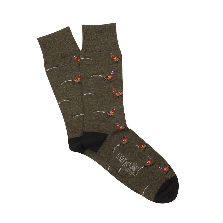 Pheasant Merino Wool Socks - Green/Black