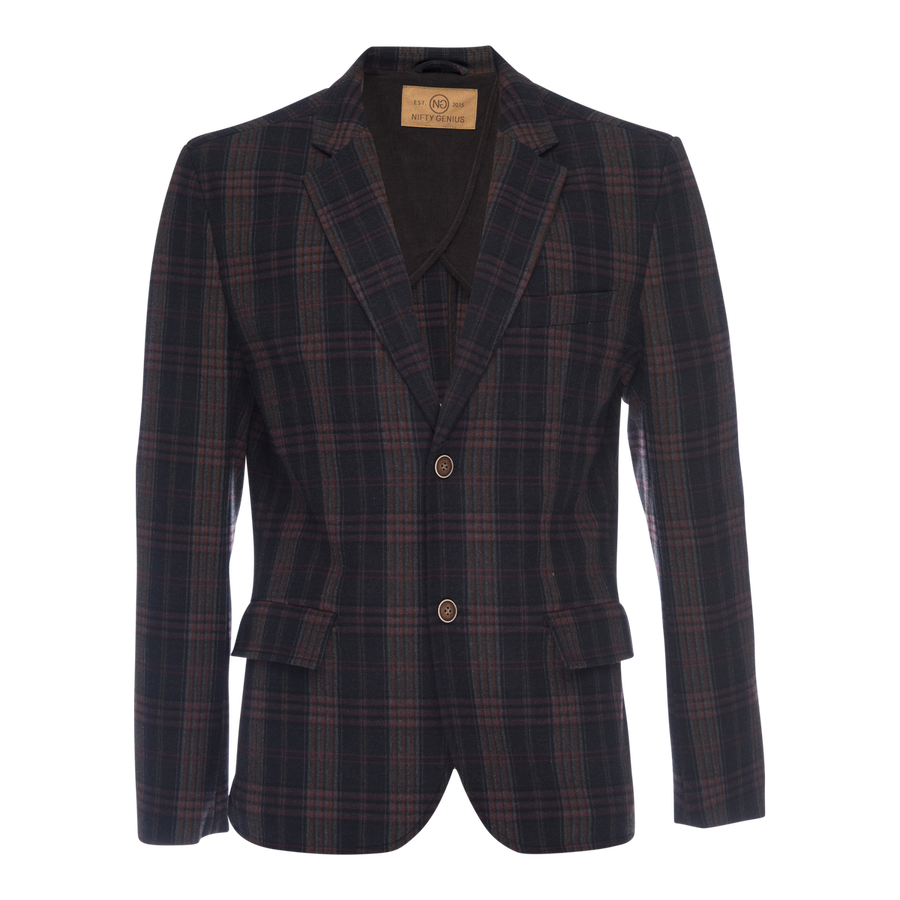 Kurt Notched Lapel Stretch Blazer - Navy Plaid